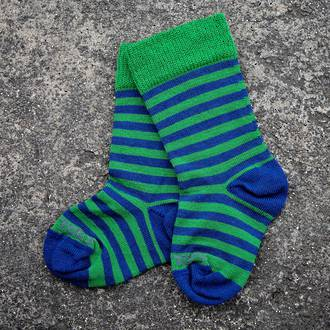Long Merino Stripe Baby Socks - green blue