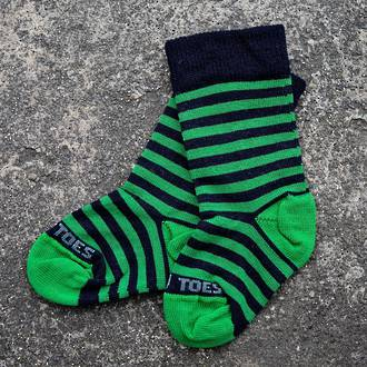 Long Merino Stripe Baby Socks - green navy