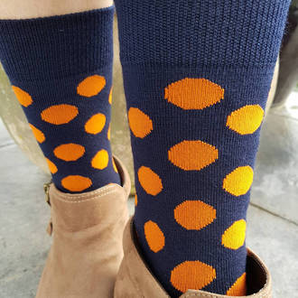 Merino Dot Socks - Navy with orange