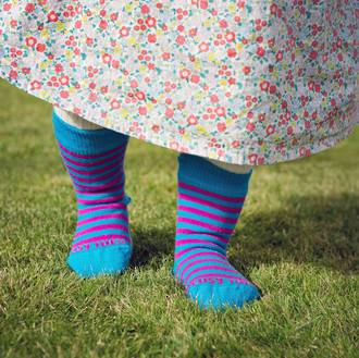 Long Merino Stripe Baby Socks - turquoise pink stripe
