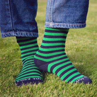 Long Merino Navy with Lime Stripe Socks - Child