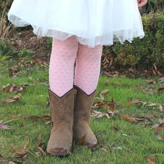 Merino Tights - Pink Polka Dot