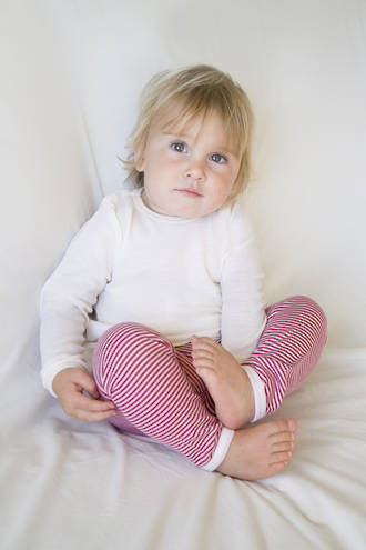 Merino Wool Baby Pants with Stripes
