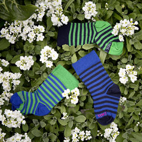 Long Merino Stripe Baby Socks