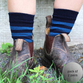 Merino Crew Socks - Navy with blue stripe