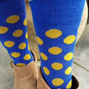 Merino Dot Socks - Blue with mustard