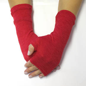 Merino Blend Hand Warmers - Cherry Stripe