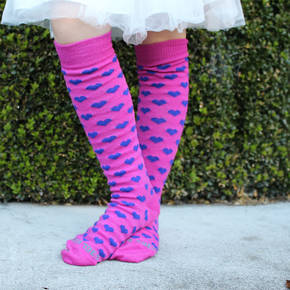 Long Merino Pink Heart Socks - Child