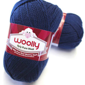 Pure 100% Wool 8 Ply Yarn - Navy