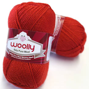 Pure 100% Wool 8 Ply Yarn - Red