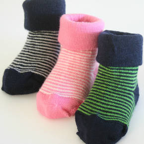 Baby Merino Socks with Stripes. pack of 2