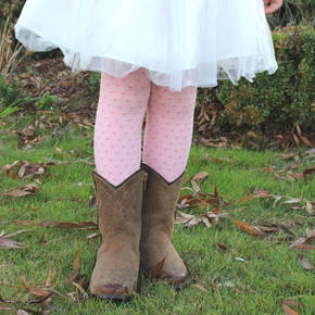 Merino Tights - Pink Polka Dot
