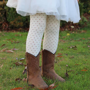 Merino Tights - Cream Polka Dot