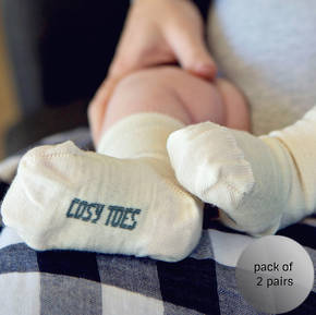 Merino Crew Baby Socks - white and navy
