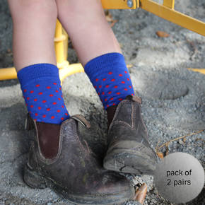 Merino Crew Socks - Blue Dot