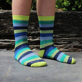 Men's Stripe Merino Socks - Wild Lime