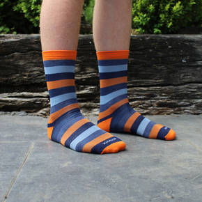 Men's Stripe Merino Socks - Orange Peel