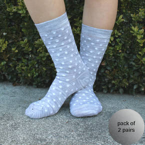 Merino Crew Socks - Grey Dot