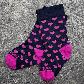 Long Merino Heart Baby Socks - navy pink
