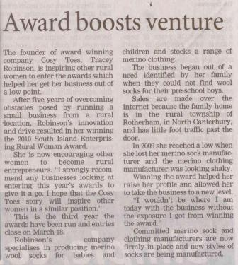 Cosy-Toes-Award-Boosts-Venture-Article